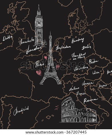 Hand drawn tourist map with sights of Europe on blackboard - stock vector