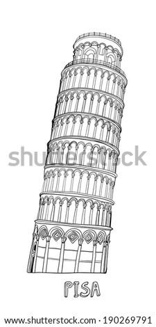Hand-drawn tower of Pisa - stock vector