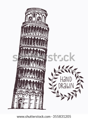 Hand drawn Tower of Pisa, Italy. Attraction of the world, vector illustration - stock vector