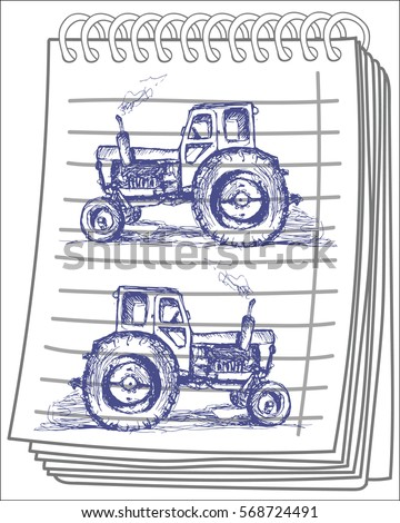 Hand drawn tractor on notebook background. Vector illustration.