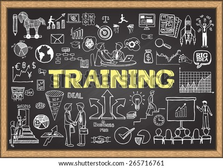 Hand drawn training on chalkboard. Business doodles. - stock vector