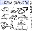 hand drawn transportation icons - stock vector