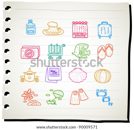 hand drawn travel,beach icon set - stock vector