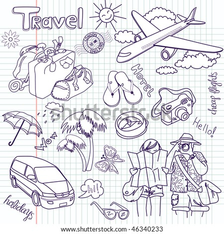 Hand drawn travel doodles. Vector illustration. - stock vector