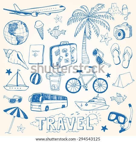 Hand drawn travel doodles vector illustration set - stock vector
