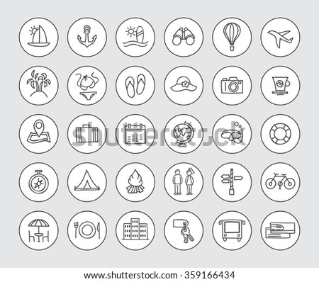 Hand Drawn Travel Icons Vector Traveling Stock Vector 359166434