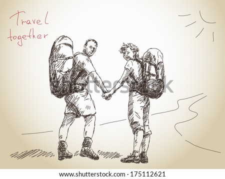Hand drawn traveling couple holding hands Vector - stock vector