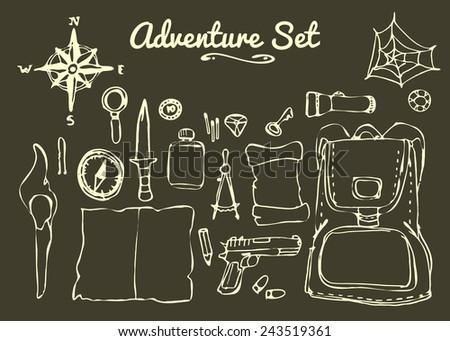 Hand drawn treasure hunting and adventure elements. Vector set - stock vector