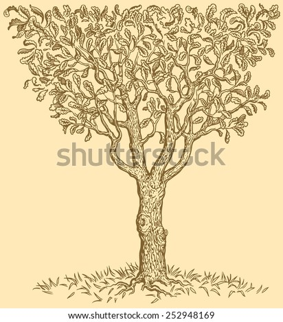 Hand drawn tree isolated on color background .8 EPS  - stock vector