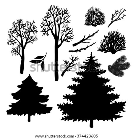 Hand drawn trees, branches, leaves. Vector set collection doodle elements for design. - stock vector