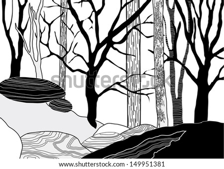 Hand Drawn Trees on the Top of the Rocky Hill - stock vector
