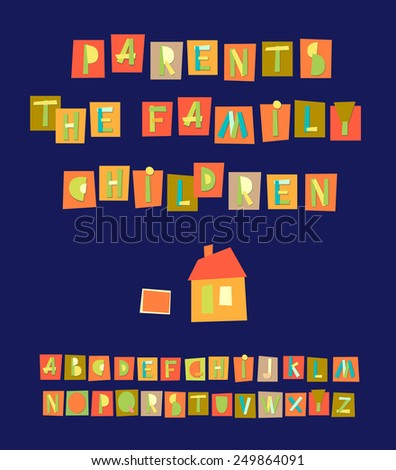 Hand Drawn Trendy Alphabet on blue background. Vector illustration. Vector illustration of  geometric alphabet. - stock vector