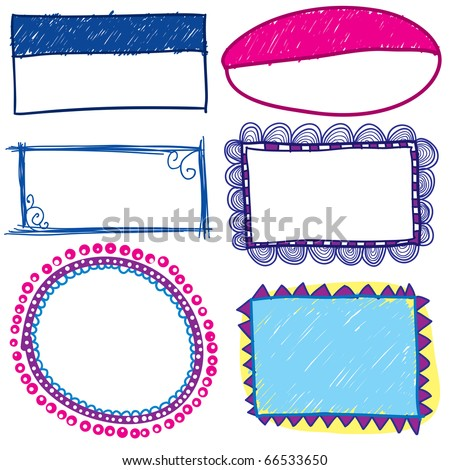 Hand drawn trendy frames - stock vector