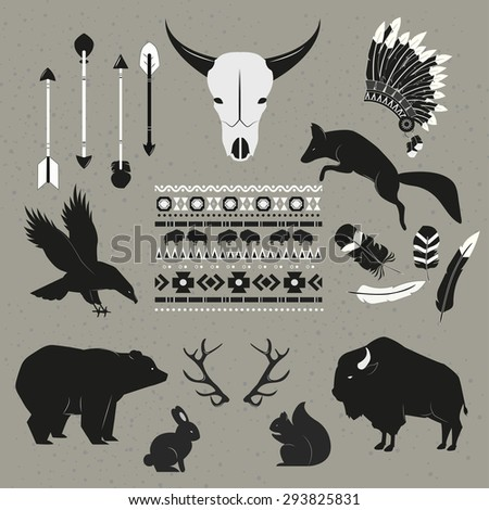 Hand Drawn tribal indian animals and objects set - stock vector