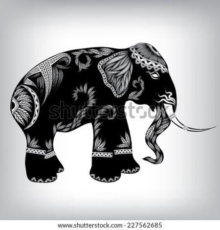 Hand Drawn Tribal Totem Elephant Animal Vector Illustration, Background EPS10