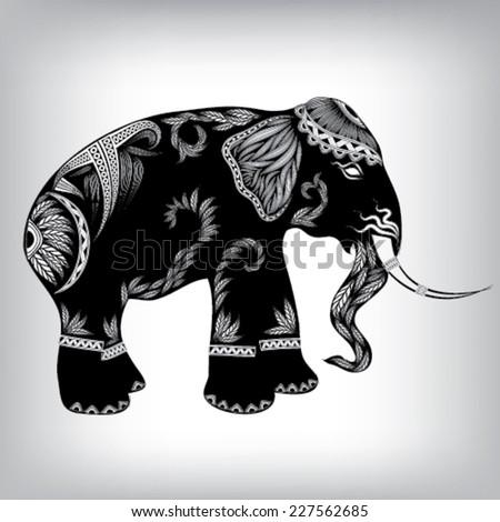 Hand Drawn Tribal Totem Elephant Animal Vector Illustration, Background EPS10 - stock vector