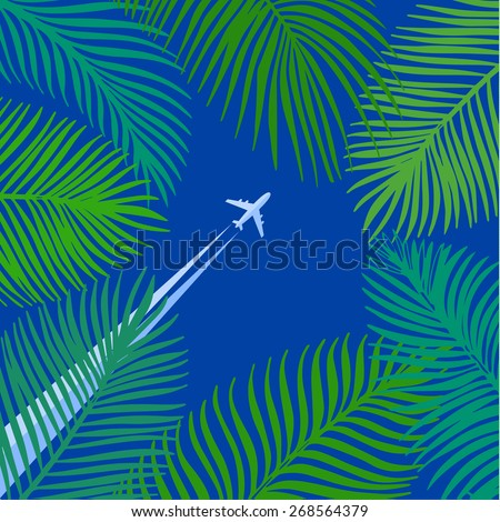 Hand drawn tropical palm leaves on blue background. Vector background. - stock vector