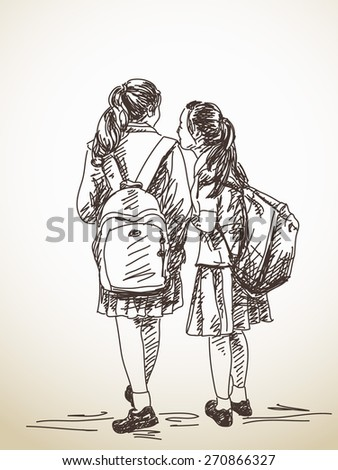Hand drawn two schoolgirls friends with backpack Vector sketch