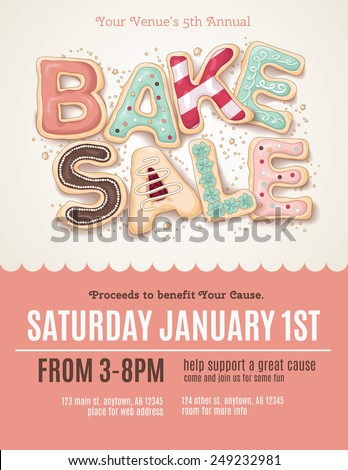 Hand drawn type that says Bake Sale in the shape of delicious and colorful cookies on a flyer, brochure, poster template layout. - stock vector