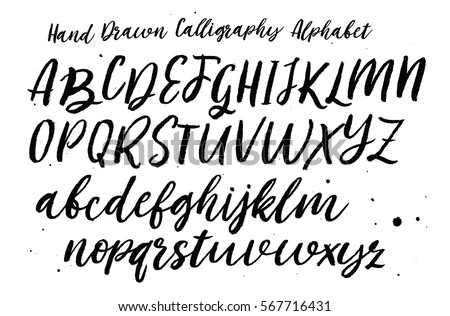 Hand Drawn Typeface Set Brush Painted Characters Lowercase And Uppercase Script Font Isolated