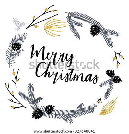 Hand drawn typography card. Merry christmas greetings hand-lettering with gold texture elements. Vector illustration.
