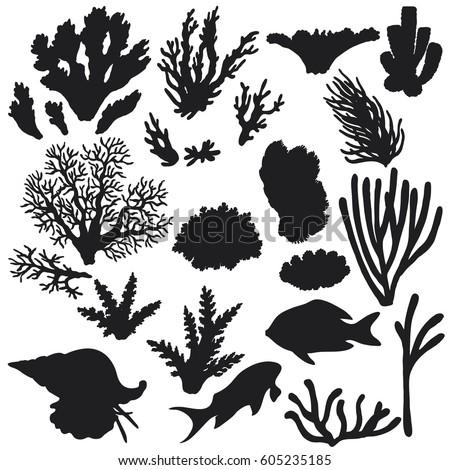 Hand drawn underwater natural elements. Sketch of reef animals. Silhouette set of fishes and corals.