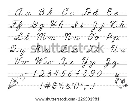 Hand drawn uppercase calligraphic alphabet and number. Cursive letters. Vector illustration. - stock vector