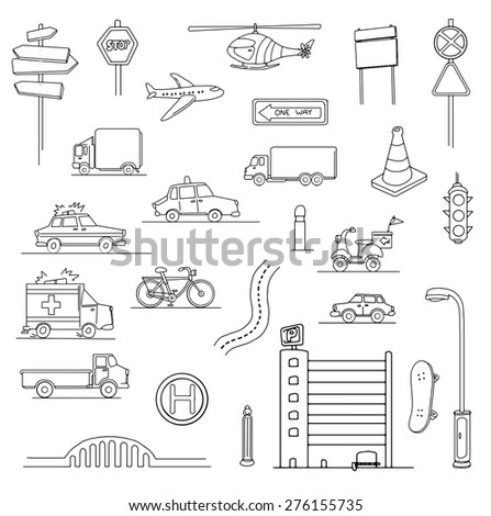 Hand drawn Urban city set of various objects, transport, vector illustration - stock vector