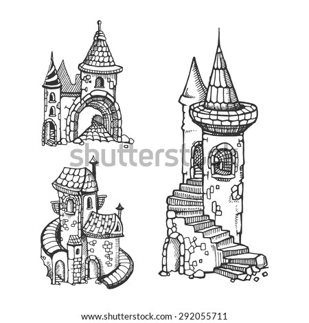 hand drawn urban graphic template made in vector medieval castles set