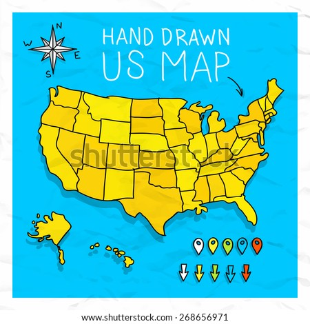 Hand drawn US map with pins arrows and rose vector illustration - stock vector