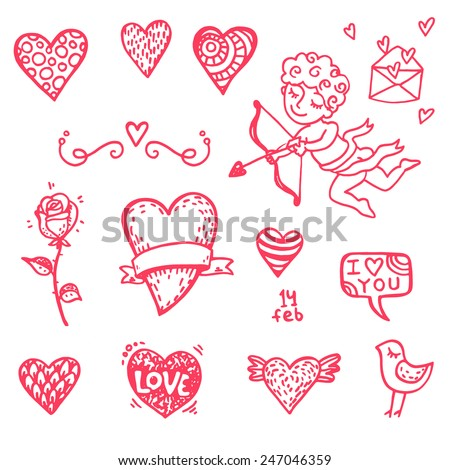 Hand drawn Valentine's day icons big doodle set. Part 1. - stock vector
