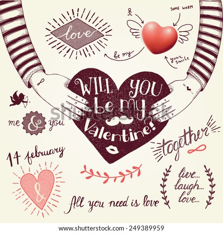 Hand-drawn valentine's day illustration - stock vector