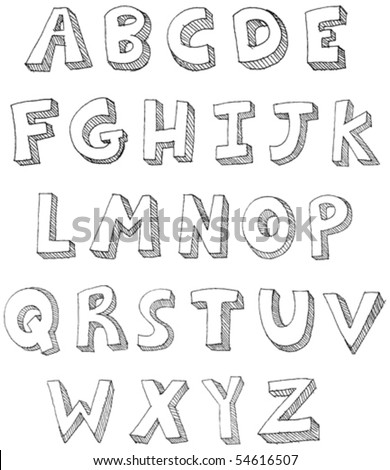 Hand drawn vector ABC letters