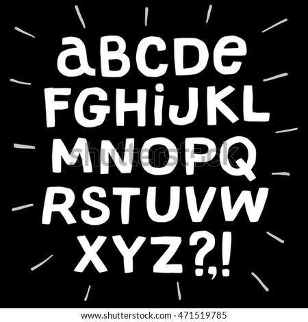 Hand drawn vector ABC  letters on black background. Marker style alphabet for your design.