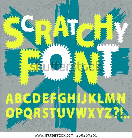 Hand drawn vector ABC letters on old wall background.Scratchy funny font for your design.  - stock vector
