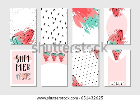 Hand drawn vector abstract textured funny summer time cards set template with watermelon slice in pastel colors isolated on white background.