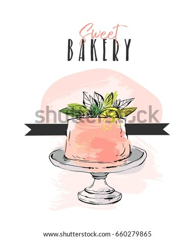 Hand drawn vector abstract unusual Sweet bakery card template with cake stand design,flowers,lemon and modern calligraphy Sweet Bakery in peach color isolated on white background.