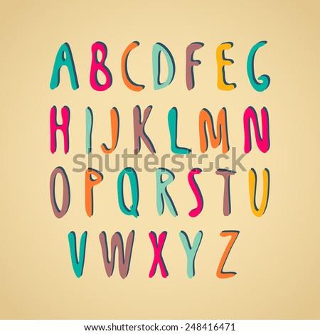 Hand-drawn vector alphabet. - stock vector