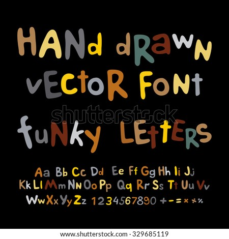 Hand-drawn vector alphabet. art funky letters font - stock vector