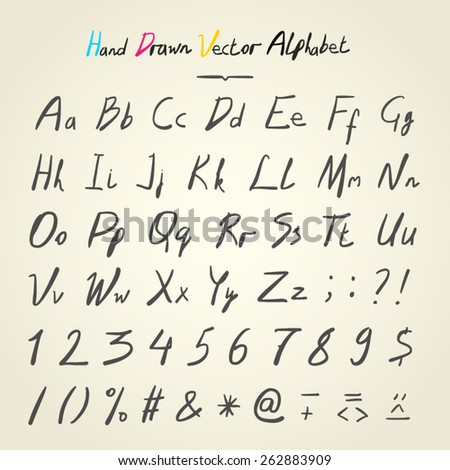 hand drawn vector alphabet black letters on white paper texture - stock vector