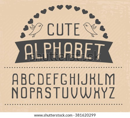 Hand drawn vector alphabet. Cute and funny font for your design. - stock vector