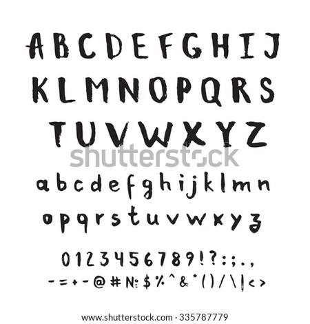 Hand drawn vector alphabet. Decorative isolated letters set. - stock vector