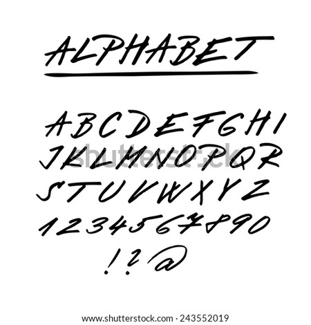 Hand drawn vector alphabet, font, isolated upper case letters, numbers written with marker or ink - stock vector