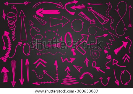Hand drawn vector arrow collection. Bright pink scetched arrows on black chalk board background - stock vector