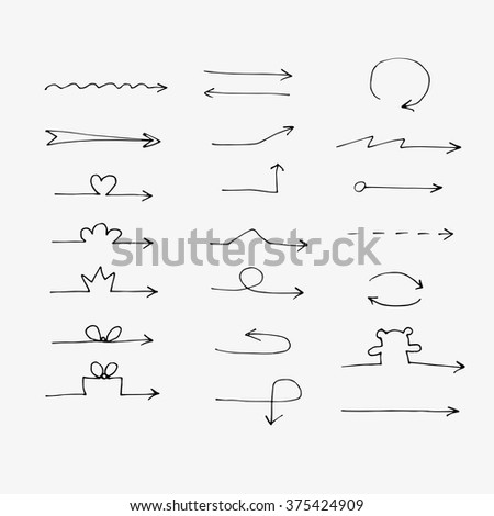 Hand drawn vector arrow collection isolated on a white background - stock vector