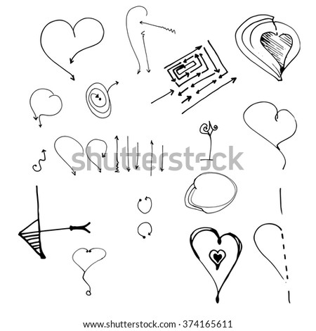 Hand drawn vector arrow collection, with heart  - stock vector