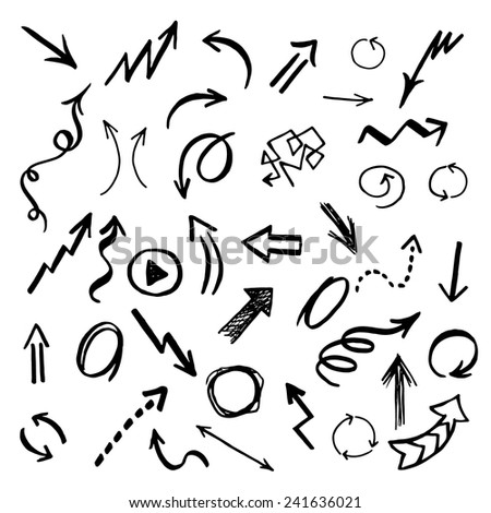 Hand drawn vector arrows set. - stock vector
