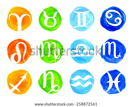 Hand drawn vector astrology illustrations of the zodiac signs with painting elements. - stock vector