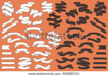 Hand Drawn Vector Banners, Ribbons, and Scrolls - stock vector