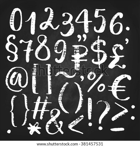 Hand drawn vector calligraphic numbers, ampersand and symbols written with brush pen. Chalkboard background - stock vector